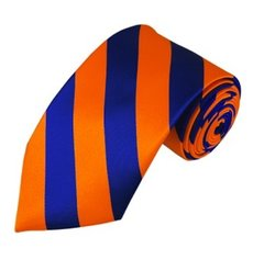 C-20 | Royal Blue and Orange College Stripe Woven Tie