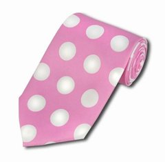 PD-11 | Pink and White Big Polkadot Tie