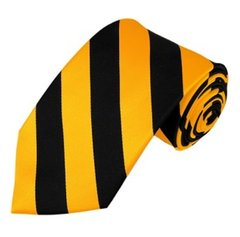 C-25   Black and Gold College Stripe Woven Tie