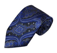 PSY-05 | Royal Blue w. Charcoal Gray on Black Big Floral Paisley Woven Necktie