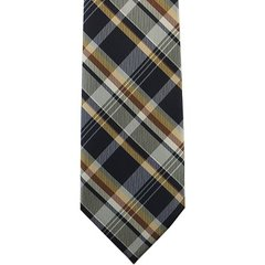 P-034 | Honey Gold, Cinnamon, and Navy Blue Classic Plaid Woven Necktie