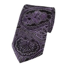 PSY-38 | Purple w. Silver On Black Paisley Woven Necktie