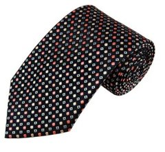 PT-025 | Palm Coral / Peach and Light Steel Blue Dots Geometric Woven Necktie