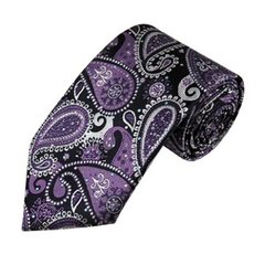 PSY-30 | Purple, White and Black Woven Paisley Necktie