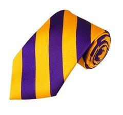 C-16   Purple and Gold College Stripe Woven Tie