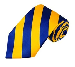 C-22 | Royal Blue and Yellow College Stripe Woven Tie