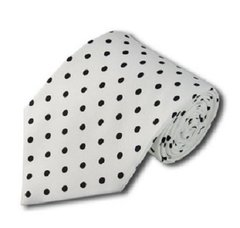 PD-02 | White and Black Polkadot Tie
