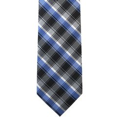 P-017 | Silver, Charcoal Gray, Royal Blue and Black Striped Plaid Woven Necktie