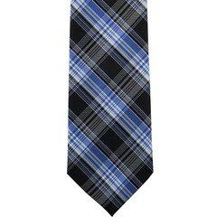 P-035 | Royal Blue, Light Blue and Black Multi-Tartan Plaid Woven Necktie