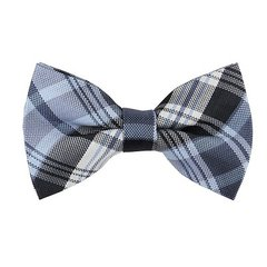BT-29 | STEEL BLUE, BLACK, W. WHITE CLASSIC MULTI PLAID MEN'S WOVEN BOW TIE