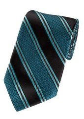 P-091 | Oasis Blue and Black Swirls and Striped Woven Necktie