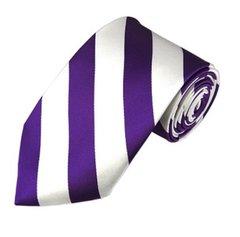C-19   Purple and White College Stripe Woven Tie