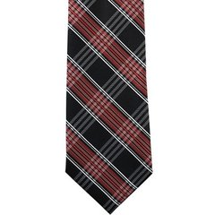 P-01 | Red, Lite Coral and Black Multi Striped Plaid Woven Necktie