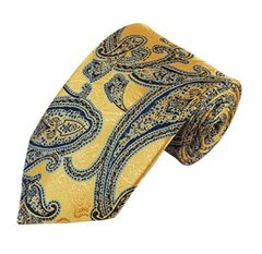 PSY-20 | Navy Blue, Baby Blue and Honey Gold Woven Paisley Necktie