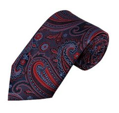 PSY-11 | Red / Steel Blue On Dark Navy Multi-Floral Paisley Woven Necktie