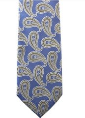 PSY-46 | Silver and Steel Blue Grid Floral Paisley Woven Necktie