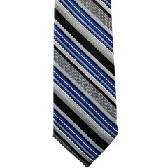 P-025 | ROYAL BLUE, BLACK AND SILVER MULTI-STRIPED WOVEN NECKTIE