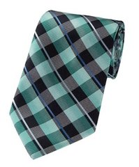 P-104 | Multi Aqua Blue, Green, Black and Silver Plaid Woven Necktie