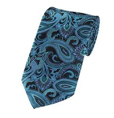 PSY-40 | Turquoise Blue, Steel Blue and Black Paisley Woven Necktie