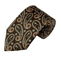 PSY-14 | Brown, Beige and Copper Medium Floral Paisley Woven Necktie