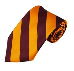 C-23 | Burgundy and Golden Yellow College Stripe Woven Tie