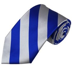 C-05 | Royal Blue and Silver College Stripe Woven Tie