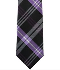 P-014 | Purple, White and Black Striped Plaid Woven Necktie