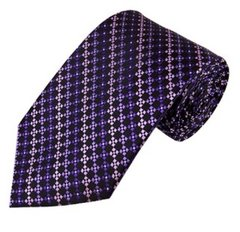 PT-024 | Multi-Shade Purple w. Black Cross Box Pattern Woven Necktie
