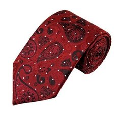 PSY-34 | Red, Black and Crimson Woven Paisley Necktie