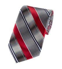 P-093 | Gradient Gray and Crimson Red Geo Multi Striped Woven Necktie