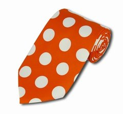 PD-10 | Orange and White Big Polkadot Tie