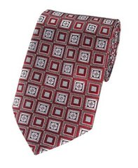 PT-031 | Crimson Red and Silver Retro Flower Woven Necktie