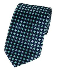 PT-028 | Navy, Aqua and Steel Blue Diamond Woven Necktie