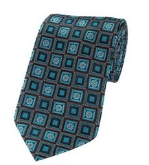 PT-032 | Oasis Blue and Black Retro Flower Woven Necktie
