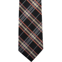 P-033 | LITE CORAL, HONEY GOLD, AND BLACK TARTAN PLAID WOVEN NECKTIE