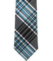 P-0145 | Multi Shade Blue and White Plaid Woven Necktie