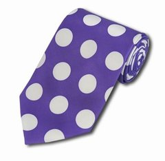 PD-13 | Purple and White Big Polkadot Tie