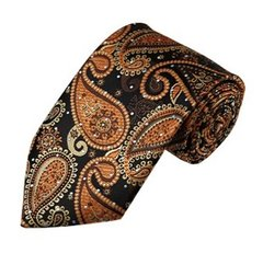 PSY-32 | Light Brown, Honey Gold and Black Woven Paisley Necktie