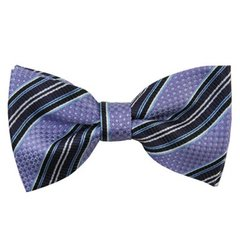BT-30 | LAVENDER, EGGPLANT, AND STEEL BLUE WEAVE SPLIT STRIPED MEN'S WOVEN BOW TIE