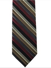 P-03 | Burgundy, Black, and Charcoal Gray Multi-Color Stripe Woven Necktie