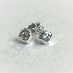 White Sapphire Sterling Silver Studs - Faceted stud earring - Earring studs for women - Designer earrings - White sapphire earrings