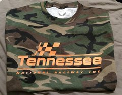 Green camo and orange logo T-shirt