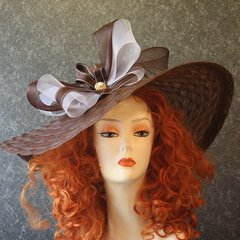 Brown and White Brimmed Hat