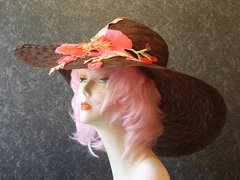 Brown Derby Hat with Embroidered Flowers