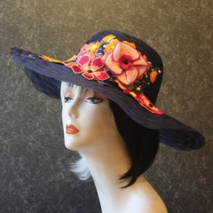Navy Hat with Embroidered Flowers