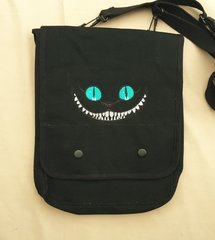 Cheshire Cat Embroidered Tablet Bag