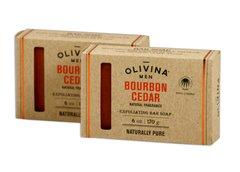 Olivina Men Bourbon Cedar Bar Soap - 2 6 oz Bars