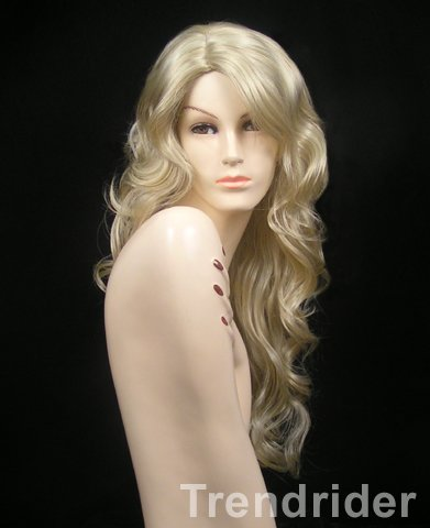 Blonde Curly Side Part Long Wig