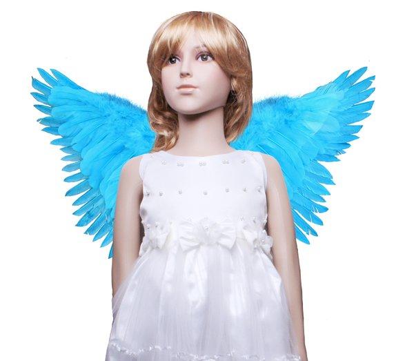 Angel of Fantasy, Medium2, Aqua Blue feather wings