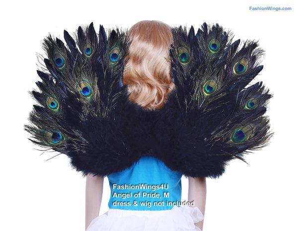 Angel of Pride, Medium, Peacock/Black feather wings